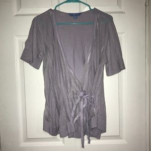 Lavender Vera wang short sleeve wrap cardigan